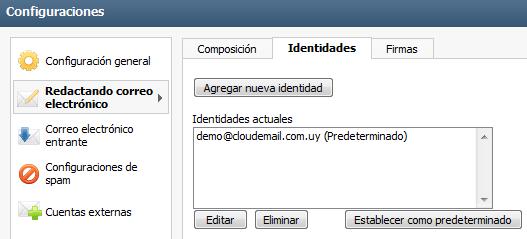 Configurar Identidades en el Webmail